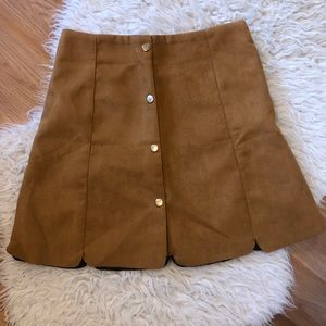 High waisted brown suede skirt